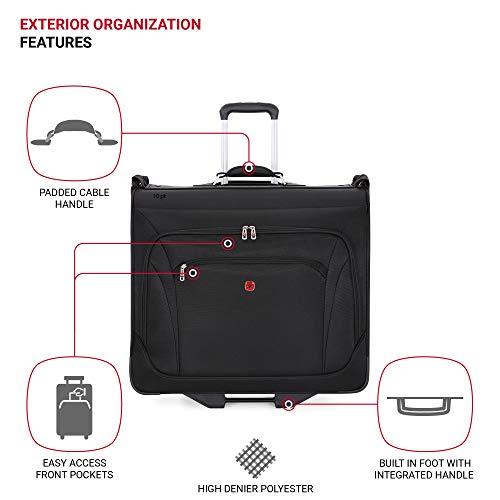 SWISSGEAR Full-Sized Effortless Folding Wheeled Garment Bag   Rolling Travel Luggage   Men's and Women's - Black