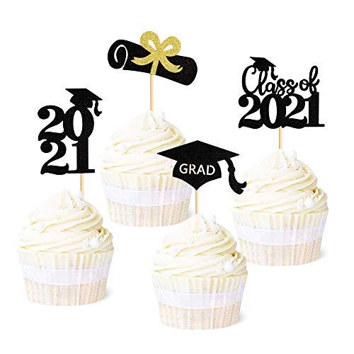 Unimall Global 24 adornos para cupcakes de graduación 2021, color negro brillante, clase de 2021, decoración para tartas de graduación 2021