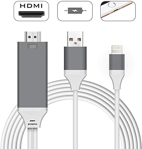 Compatible with iPhone iPad to HDMI Adapter Cable, Aictoe 6.5ft Digital AV Adapter 1080P HDTV Connector Cord Compatible with iPhone 11 Pro Xs MAX XR X 8 7 6s Plus iPad iPod to TV Projector Moniter