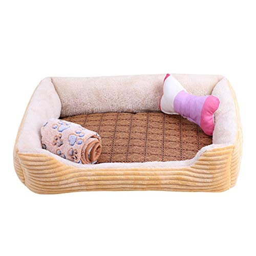 DUOXIAO Square Four Seasons Dog Bed Plush Cat Bed Dog Cushion Soft and Comfortable Dog House