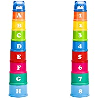 elecnewell Stacking Cups Baby Building Set Toddlers Toy 9 Pieces