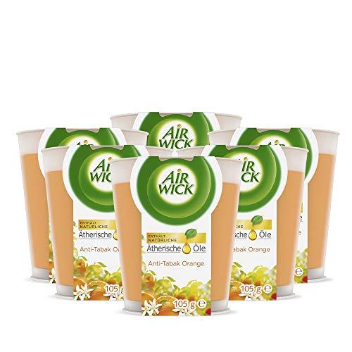 Air Wick Wohlfühl-Duftkerze Anti-Tabak – Duft: orange – Enthält natürliche ätherische Öle – 6 x Duftkerze in orange