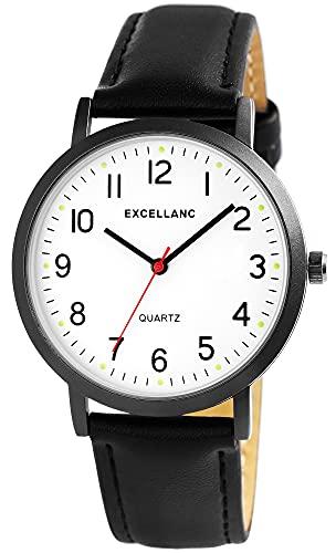 Excellanc Reloj de pulsera para hombre, color blanco y negro, aspecto de titanio, analógico, piel sintética, clásico, de cuarzo