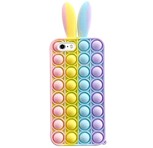 SDTEK Custodia Pop Ears Arcobaleno Compatible con iPhone 7/8 / SE 2020, Cover Fidget in Silicone Morbido Multicolore