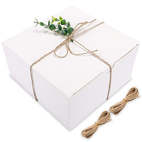Moretoes White Gift Boxes 12 Pack 8x8x4 Inches  Paper Gift Boxes with Lids for Wedding Present  Bridesmaid Proposal Gift  Graduation  Holiday  Birthday Party Favor  Engagements and Christmas