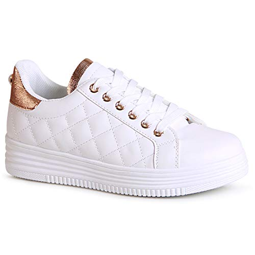 topschuhe24 Mujer Zapatillas de Plataforma Derby Sneaker, Color:Rose Gold, Número de Zapato:38 EU
