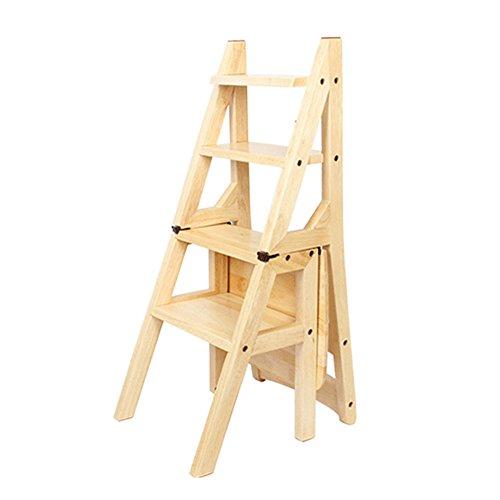 CivilWeaEU- Chaise d'escalier pliante: tabouret double échelle, couleur miel, couleur bois, couleur noyer -Chaise
