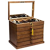 Best Jewelry Boxes - Large wooden jewelry box for women with mirror Review