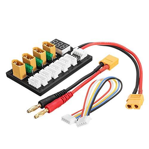 CUHAWUDBA 4CH Parallel Laden Karte XT60 Bananen Stecker für ISDT Q6 SC-608 SC-620 Imax B6 Ladeger?T LiPo-Akku Aufladen