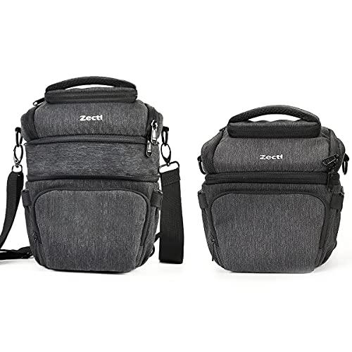 Zecti Kameratasche Fototasche für DSLR/SLR/Spiegelreflexkamera und Objektiv mit wasserdichter Regenhülle, Design mit versenkbarer Kapazität