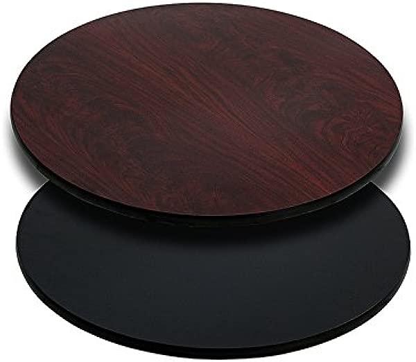 Emma Oliver 24 Round Black Mahogany Reversible Laminate Table Top