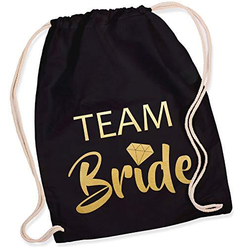 Shirt-Panda Turnbeutel JGA Team Bride/Team Bride mit Diamant Junggesellinnenabschied Team-Braut Tasche Rucksack Team Bride - Schwarz (Druck Gold)