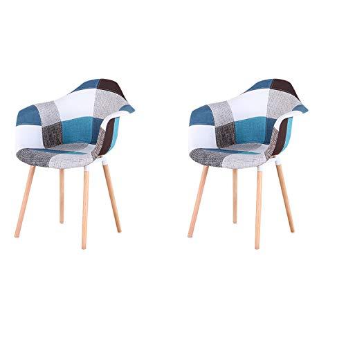 N/A - Juego de 2 sillas de comedor para cocina, silla de diseño con respaldo de lino, piezas de madera maciza, sillones de tela multicolor con revestimiento de patchwork para la sala, color azul