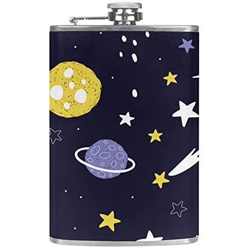 Cartoon Planets Stars and Comets, frascos para mujer de 8 fl oz frascos de diseño para licor para hombres, frasco portátil de acero inoxidable con tapón de embudo para alcohol