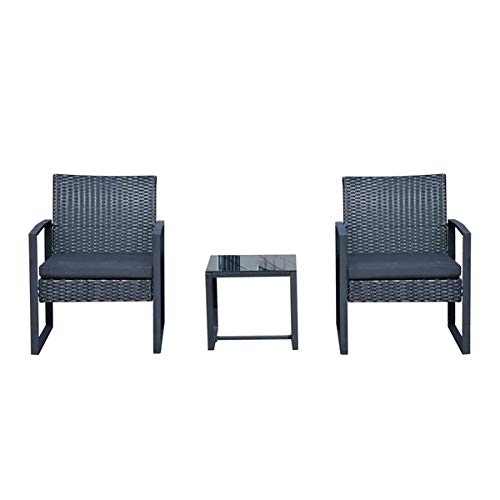 ZDA Rattan Furniture Garden Balcony 3-piece Rattan Terrace Set, With/Mattress, Table And Chairs, (Color : Black)