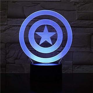 WoloShop Lampara LED Escudo Capitán América Cambia Color USB Luz Nocturna