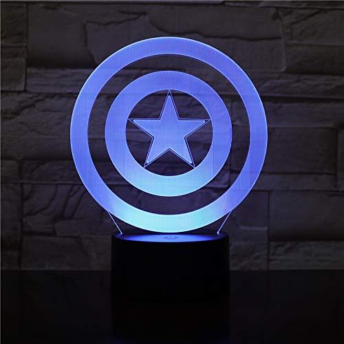 WoloShop LED-Lampe, Captain America Schild, Farbwechsel, USB-Nachtlicht