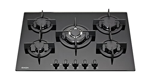 Saga Elegans X751-B Gaskochfeld aus Glas, mit 5integrierten Brennern, 70 cm, schwarz