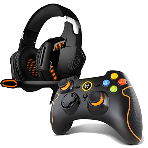 KromCascos Gaming Kyus -Nxkromkys- Auriculares con Micrófono, Sonido 7.1, Altavoces 50Mm, Compatible Pc, Ps4 Y Ps5, Negro+ Nxkromkhns Khensu - Gamepad Inalámbrico, Color Negro/Naranja