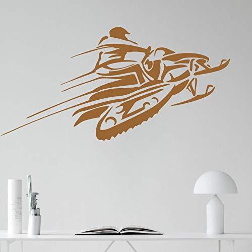 yaonuli Etiqueta de la Pared del Vinilo de la Moto de Nieve Racing Invierno Deportes Extremos diseño Arte Interior Mural decoración del hogar Mural 42X86 cm