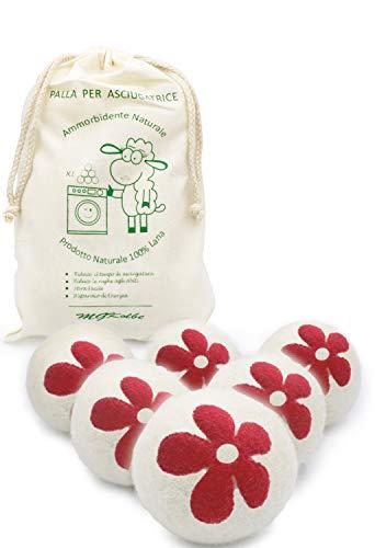 MGKolbe® Bolas para secadora, bolas de lana, perfumador de aceites esenciales, suavizante natural, hipoalergénico, perfume de esencia de colada, antiarrugas, atrapa pelos, 6 bolas blancas con flor