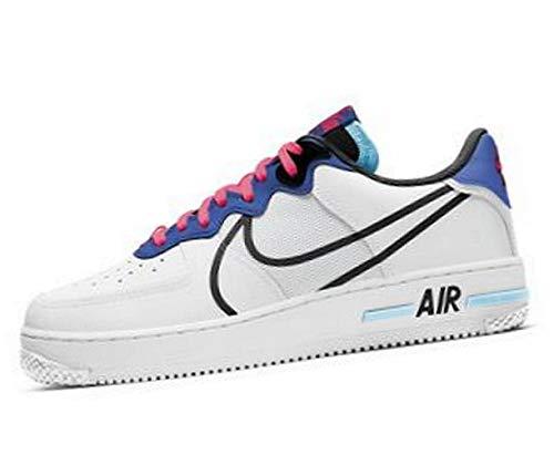 Nike Herren AIR Force 1 React Basketballschuh, White Black Astronomy Blue Laser Crimson Bleached Aqua, 42.5 EU