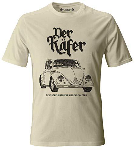 Vintage Style VW Beetle Der Käfer Type 1 T-Shirt VW Bug (L, Sand)