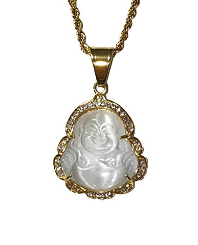 Laughing Buddha White Jade Iced Diamond Pendant Necklace14k Gold P Rope Chain Genuine Certified Grade A Jadeite Jade Hand Crafted, Natural Green Obsidian Healing Mala Statue Prayer Buddha (16.0)