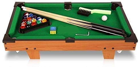 Generic Snooker Game Mini Wooden Table Top Pool Table Game Billiard Snooker, 51x31.2x10.5 cm, Billiard Table Set with Balls, Cus, Chalk, Rack, Billiard Table for Children Indoor and Outdoor Game