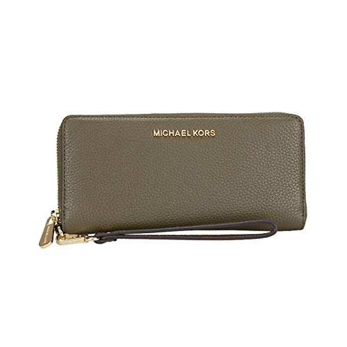 Michael Kors Duffle Green Pebbled Leather Zip Around Travel Wallet