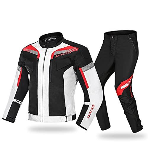 WFGZQ Traje De Motorista Chaqueta Moto Pantalones con Protecciones CE Impermeable Cortaviento Apta para Viajes En Moto
