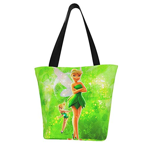 Tinker Bell Green Cute Women Tote Bag Canvas Handbags Casual Ladies Shoulder Bags for Shopping Purse