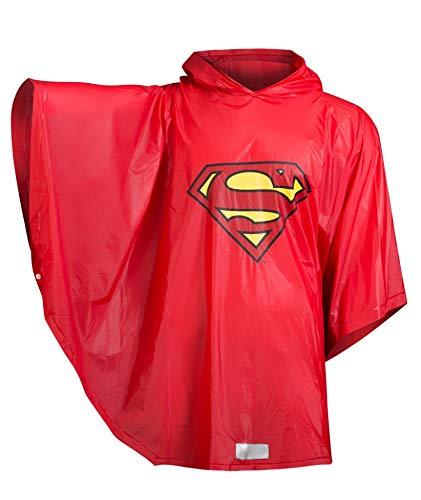 Baagl Kinder Regenponcho - Superman Regencape mit Kapuze und reflektiven Elementen - Regenmantel für Jungen ab 130cm