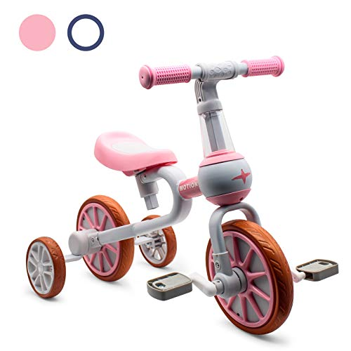 XIAPIA 3 in 1 Kids Tricycles Gift for 2-4 Years Old Boys Girls with Detachable Pedal and Training Wheels,Baby Balance Bike Trikes Riding Toys for Toddler(Adjustable Seat)