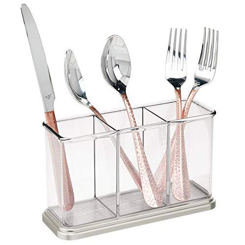 mDesign - Bestekorganizer - opbergbakken/houder voor keukengerei - voor werkbladen en tafels - slanke bestekbak voor messen, vorken en lepels - Doorzichtig/geborsteld