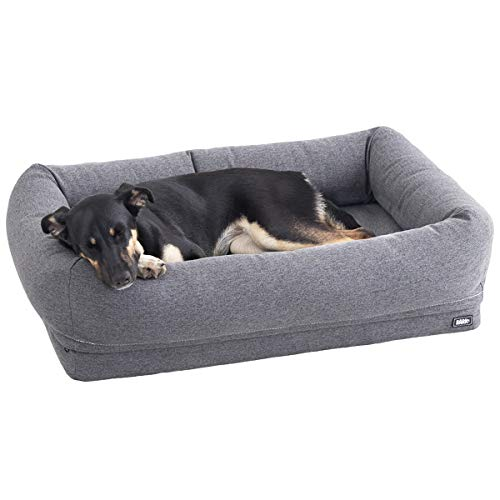 Price comparison product image Barkbox 2-in-1 Memory Foam Dog Bolster Bed / High Density 3 Base Orthopedic Joint Relief Crate Lounger or Donut Pillow Bed,  Machine Washable + Removable Cover / Waterproof Lining / Medium,  Grey