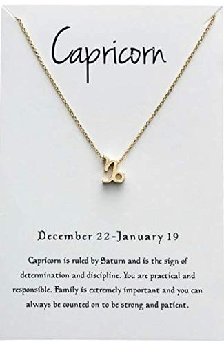 Collar de constelación del zodiaco de Capricornio, chapado en oro con signo del zodiaco