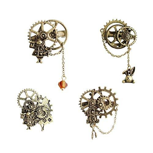 BW Jewelry 4 PC Pin Clip joyería y Accesorios Retro Punk Rock Engranaje de la Cadena de la Chaqueta de la Broche de Ropa de la Motocicleta, Apto for Festivales de música, conciertos (Color : Metal)