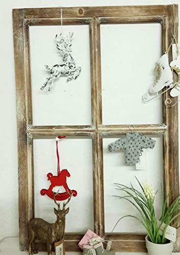 Fenster Deko Fensterrahmen Sprossenfenster Braun Holz Shabby Vintage Landhaus