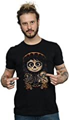 Disney Hombre Coco Miguel Face Poster Camiseta Large Negro