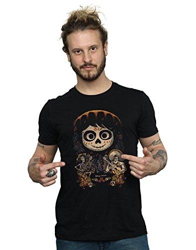 Disney Hombre Coco Miguel Face Poster Camiseta Small Negro