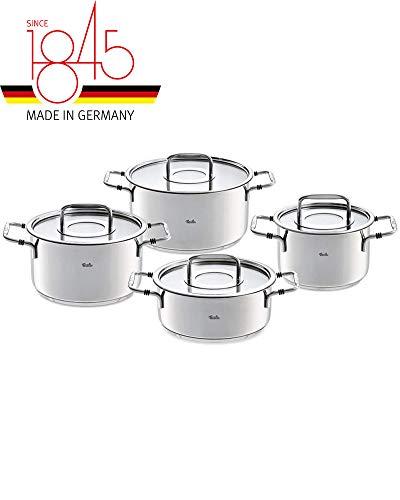 Fissler bonn / Edelstahl-Topfset, 4-teilig, Kochtopf-Set, Töpfe inkl. Glas-Deckel (3 Kochtöpfe, 1 Bratentopf) - Induktion
