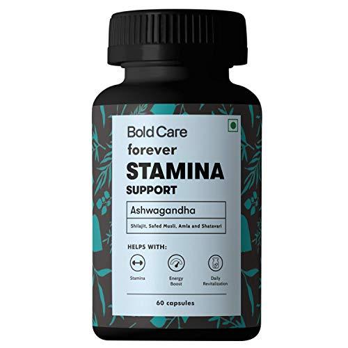 Bold Care Forever 60 Capsules – Ashwagandha & Shilajit – Stamina Booster Supplements for Men – All Natural Safed Musli, Shatavari & More