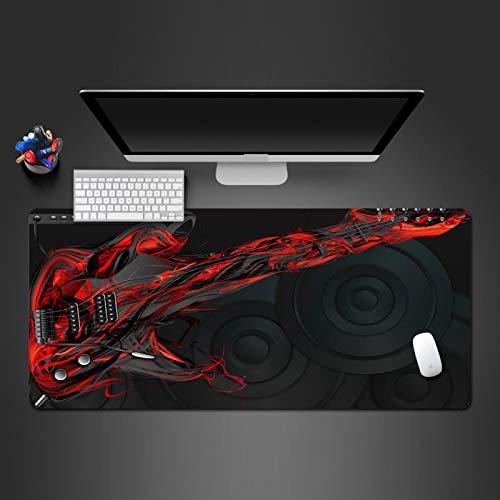 PDBEIT Tappetino Mouse Gaming Altoparlante Per Chitarra Di Musica Rossa 800X300X3mm Grande Tappetino Mouse Xxl Con Bordi Cuciti, Lavabile Antiscivolo Mouse Pad Con Superficie Liscia Per Lavoro E Gioco