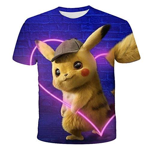 PERRTWDLF Lustige Grafik Pikachu Kurzarm Unisex 3D Druck Pokemon T-Shirt Herren Damen Sommer japanischer Anime lustig Hemd Teenager Sportbekleidung 1105_110cm