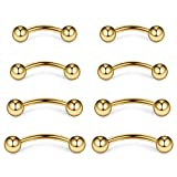 Ruifan 4prs(8pcs) Eyebrow Piercing Jewelry Curved Barbell with Ball Kit Eyebrow Tragus Lip Ring 16g 16 Gauge 6mm/8mm/10mm/12mm(Gold)