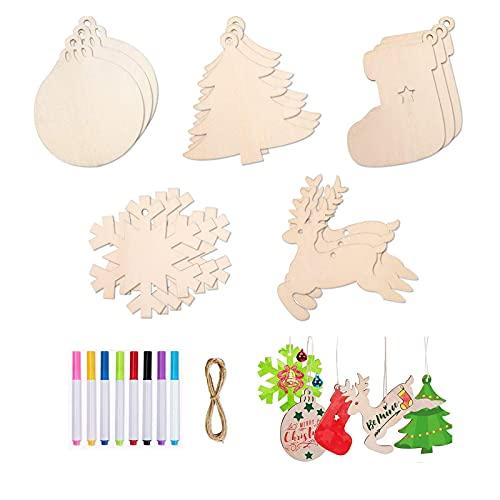 PINGDONGHANG Juego de 50 decoraciones de Navidad de madera inacabada para manualidades de Navidad Kidswooden