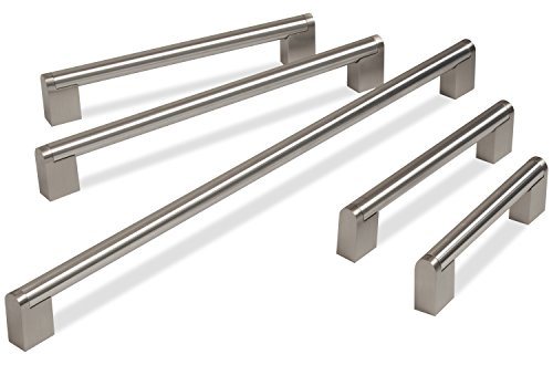 Hausen - Stangen-Möbelgriffe aus gebürstetem Edelstahl - geeignet für Küchenschränke, Schubladen & Kommoden - 192mm