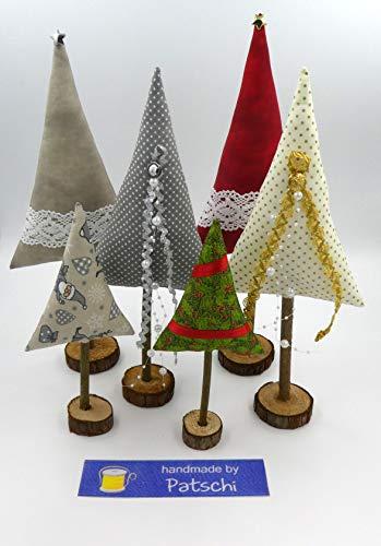 Weihnachtsbäume aus Stoff 3 er Set Rot oder Grau
