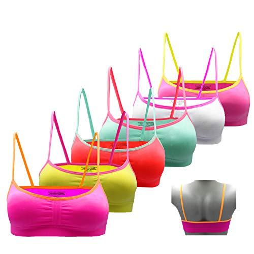 Gloop - Sujetador deportivo para niña (6 unidades, sin costuras, con tirantes) rosa, amarillo, rojo, verde, blanco y rosa. M (12-14 años)